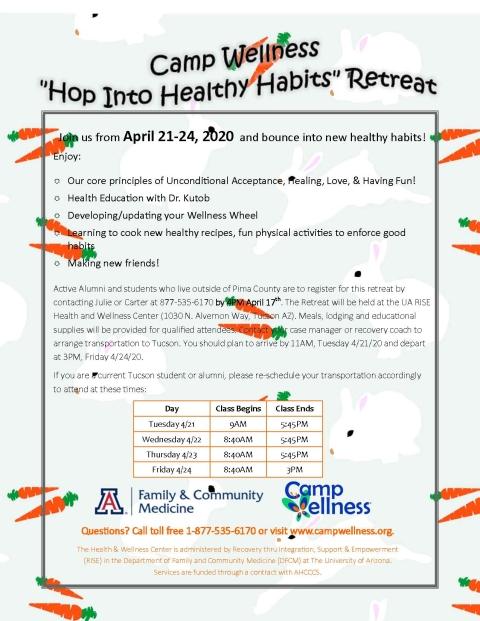 Hop Into Healthy Habits Retreat 4/21-4/24/20